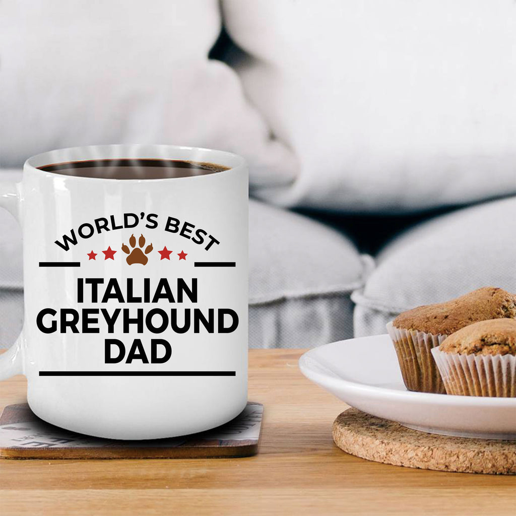 Italian Greyhound Gift World's Best Dad Birthday Father's Day White Ceramic Coffee Mug