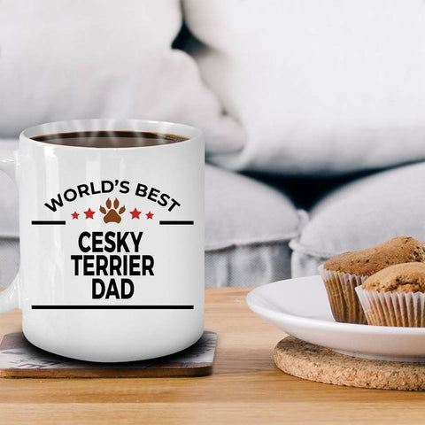 Cesky Terrier Dog Lover Gift World's Best Dad Birthday Father's Day White Ceramic Coffee Mug