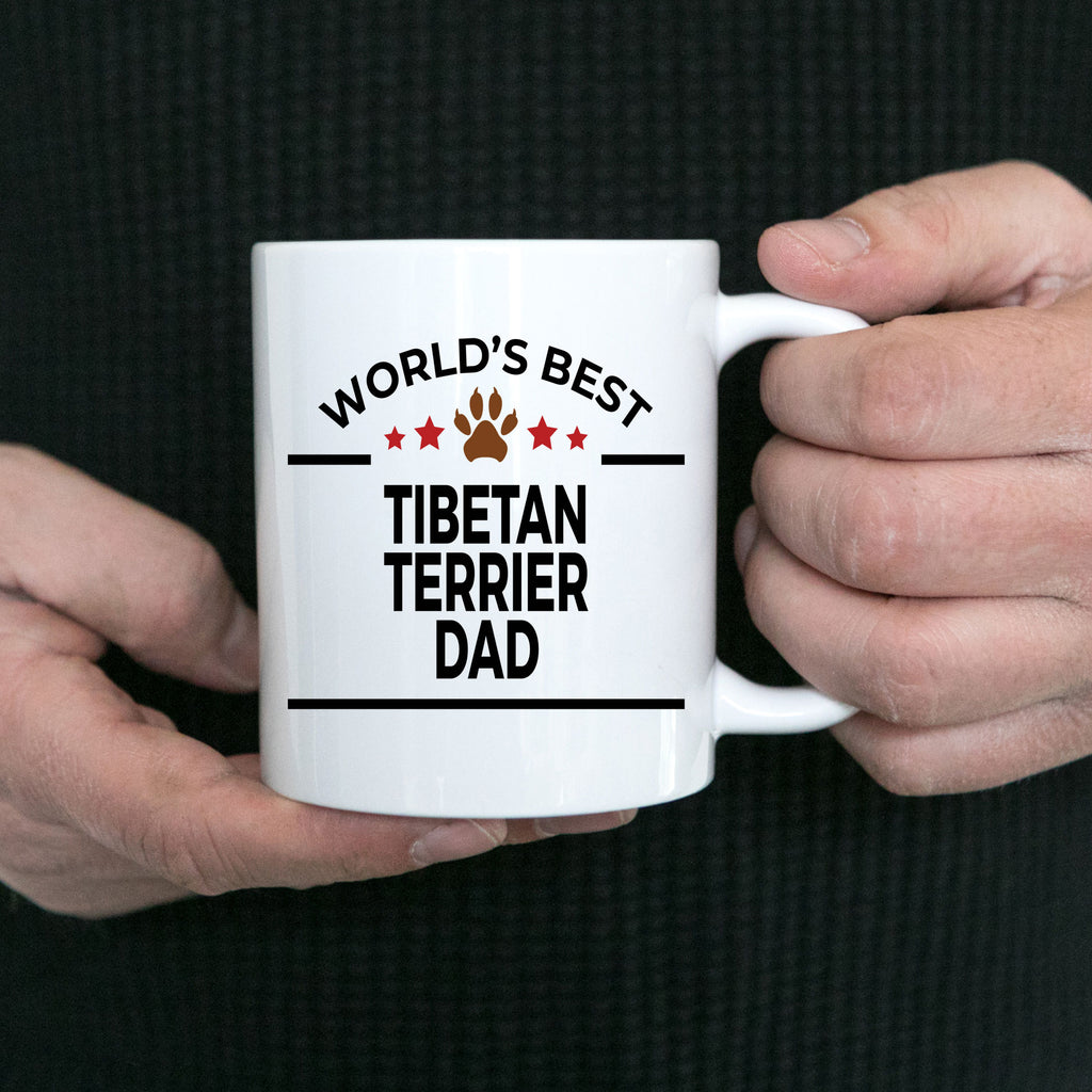 Tibetan Terrier Dog Lover Gift World's Best Dad Birthday Father's Day White Ceramic Coffee Mug