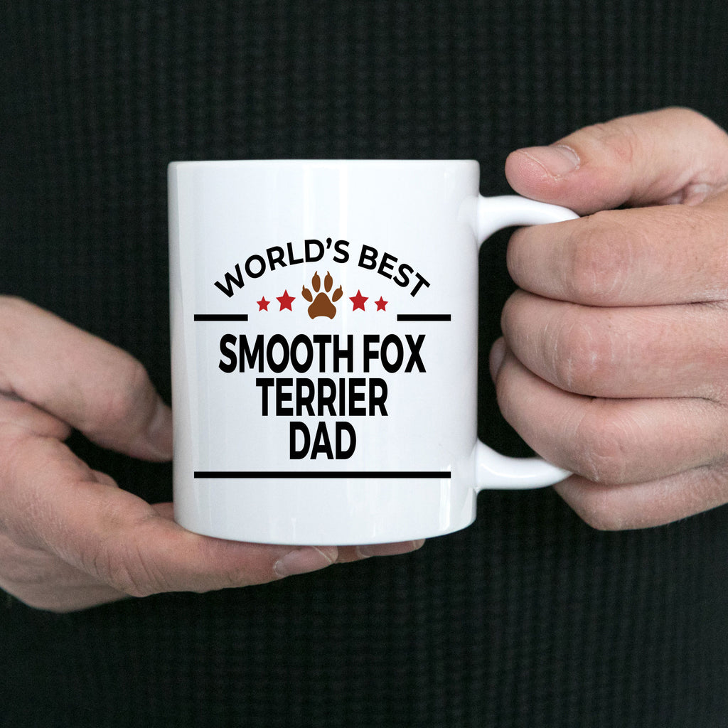 Smooth Fox Terrier Dog Lover Gift World's Best Dad Birthday Father's Day White Ceramic Coffee Mug
