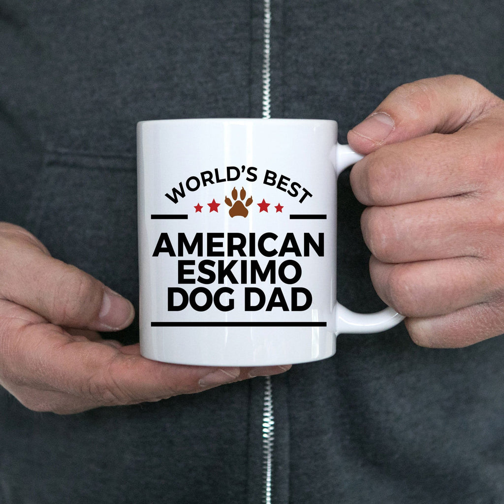 American Eskimo Dog Owner Lover World's Best Dad White Ceramic Coffee Mug