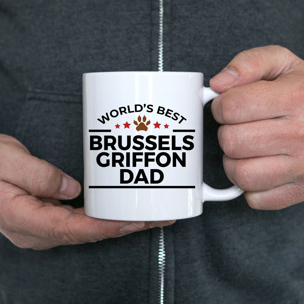 Brussels Griffon Dog Lover Gift World's Best Dad Birthday Father's Day White Ceramic Coffee Mug