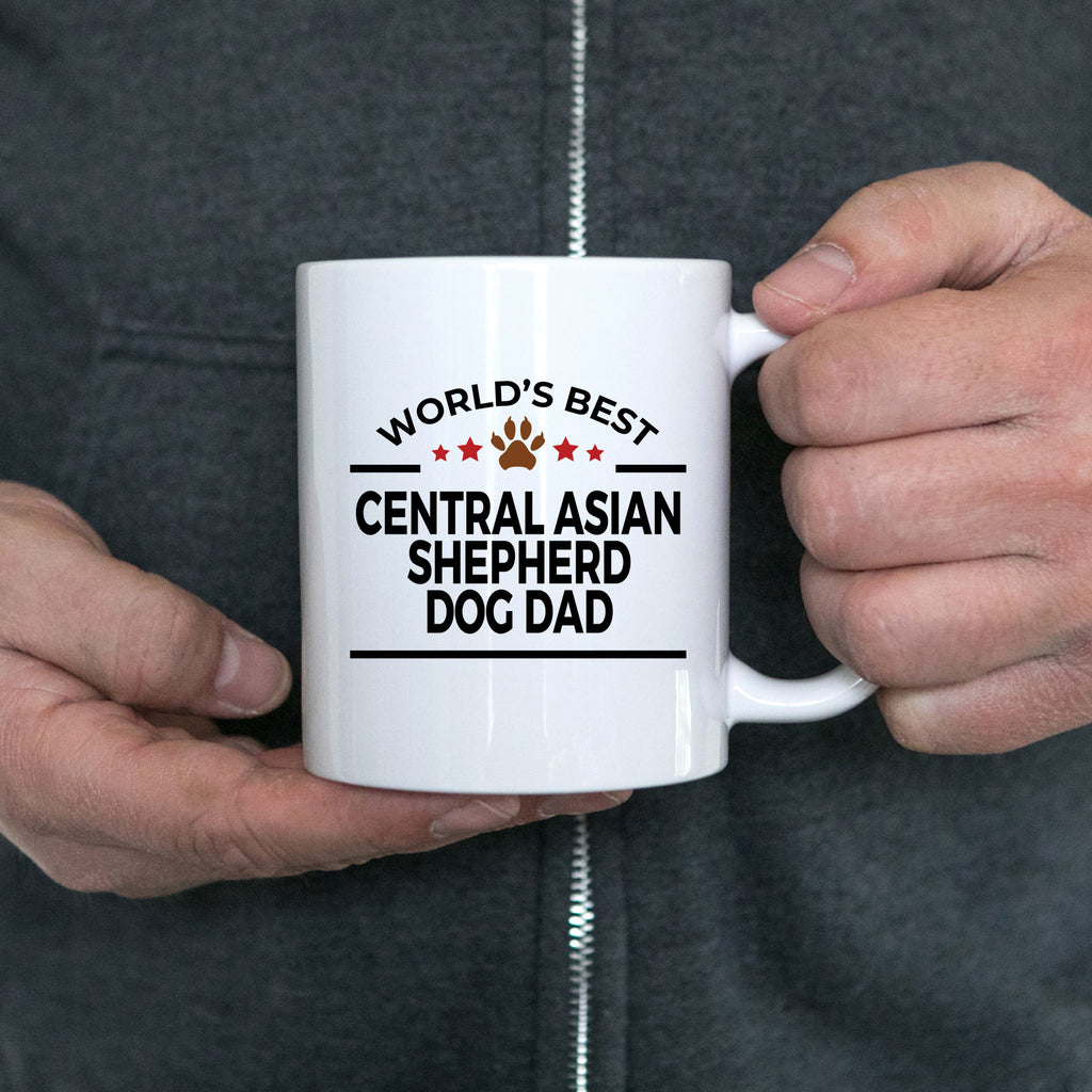 Central Asian Shepherd Dog Lover Gift World's Best Dad Birthday Father's Day White Ceramic Coffee Mug