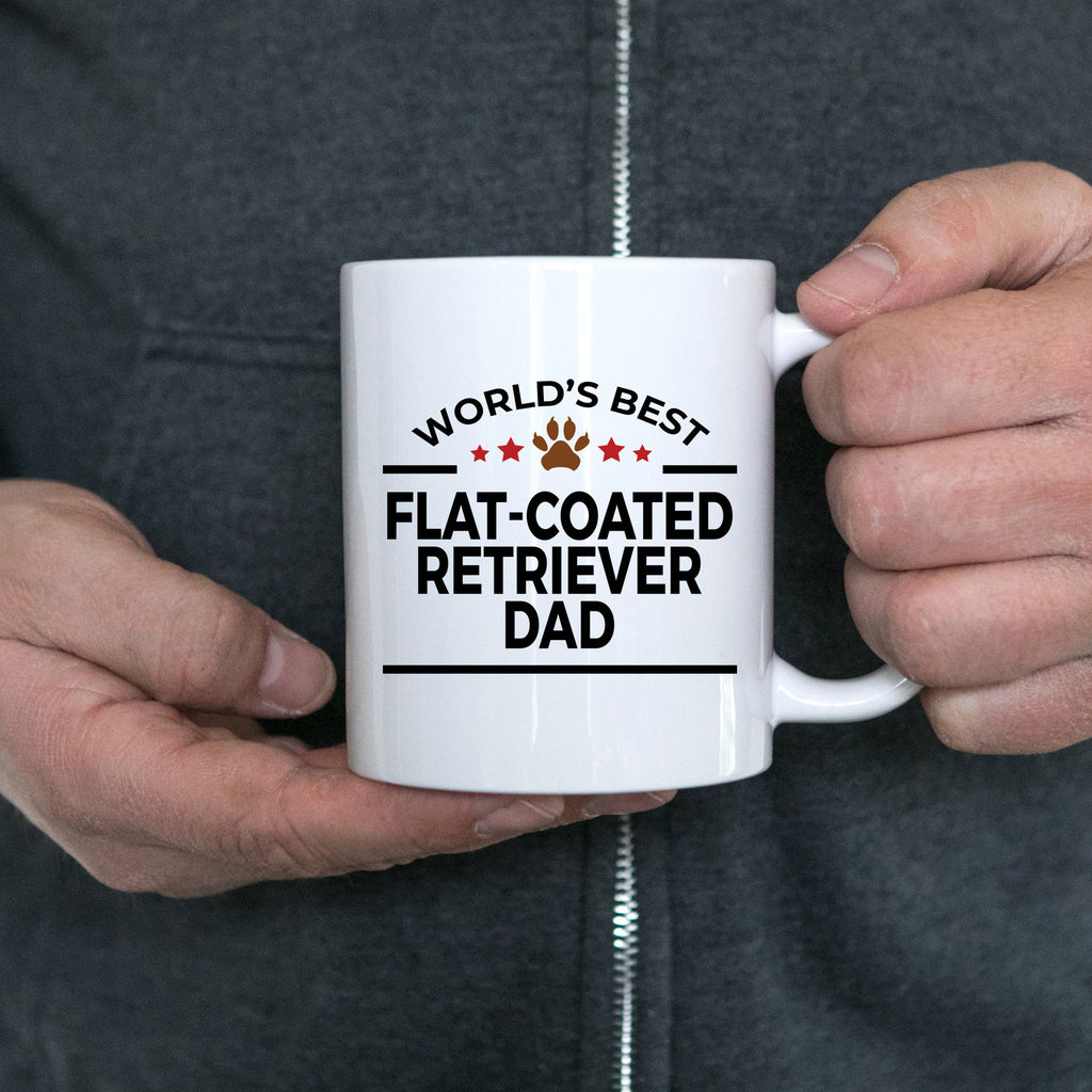 Flat-Coated Retriever Dog Lover Gift World's Best Dad Birthday Father's Day White Ceramic Coffee Mug