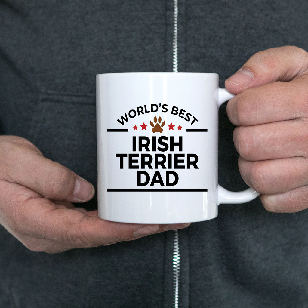 Irish Terrier Dog Lover Gift World's Best Dad Birthday Father's Day White Ceramic Coffee Mug