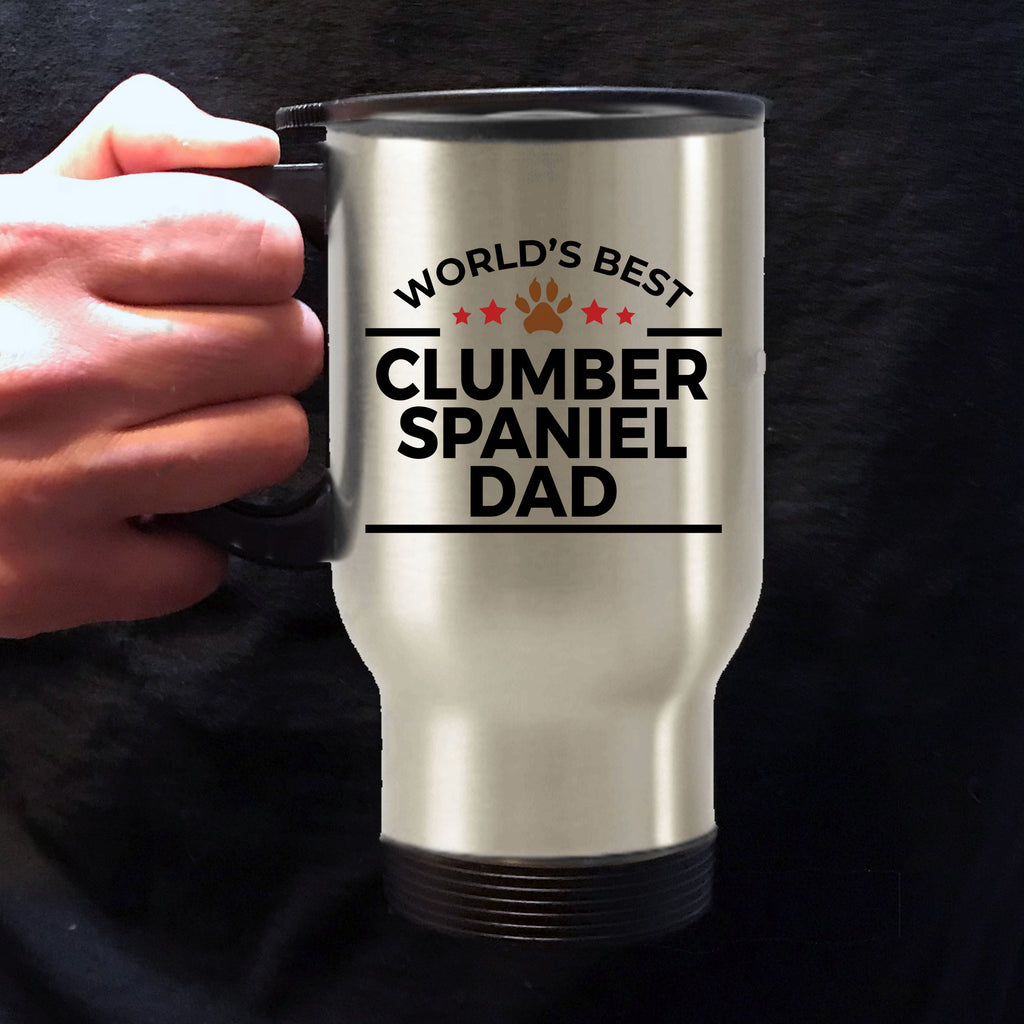 Clumber Spaniel Dog Lover Gift World's Best Dad Birthday Father's Day Stainless Steel Insulated Travel Coffee Mug