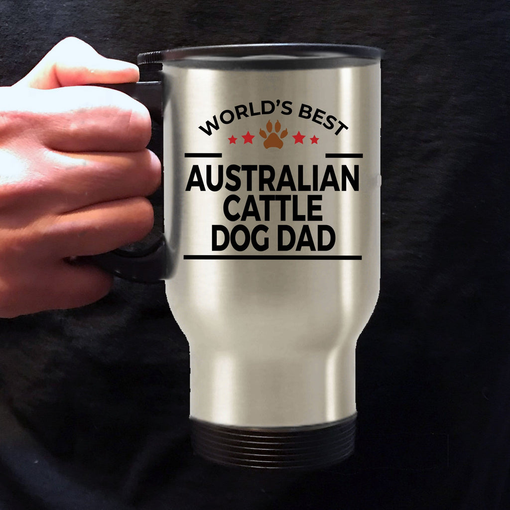 Australian Cattle Dog Lover Gift World's Best Dad Birthday Father's Day Stainless Steel Insulated Travel Coffee Mug