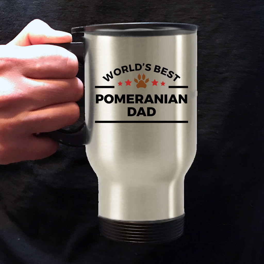 Pomeranian Dog Lover Gift World's Best Dad Birthday Father's Day Stainless Steel Insulated Travel Coffee Mug