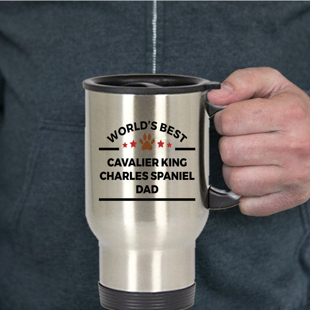 Cavalier King Charles Spaniel Dog Lover Gift World's Best Dad Birthday Father's Day Stainless Steel Insulated Travel Coffee Mug