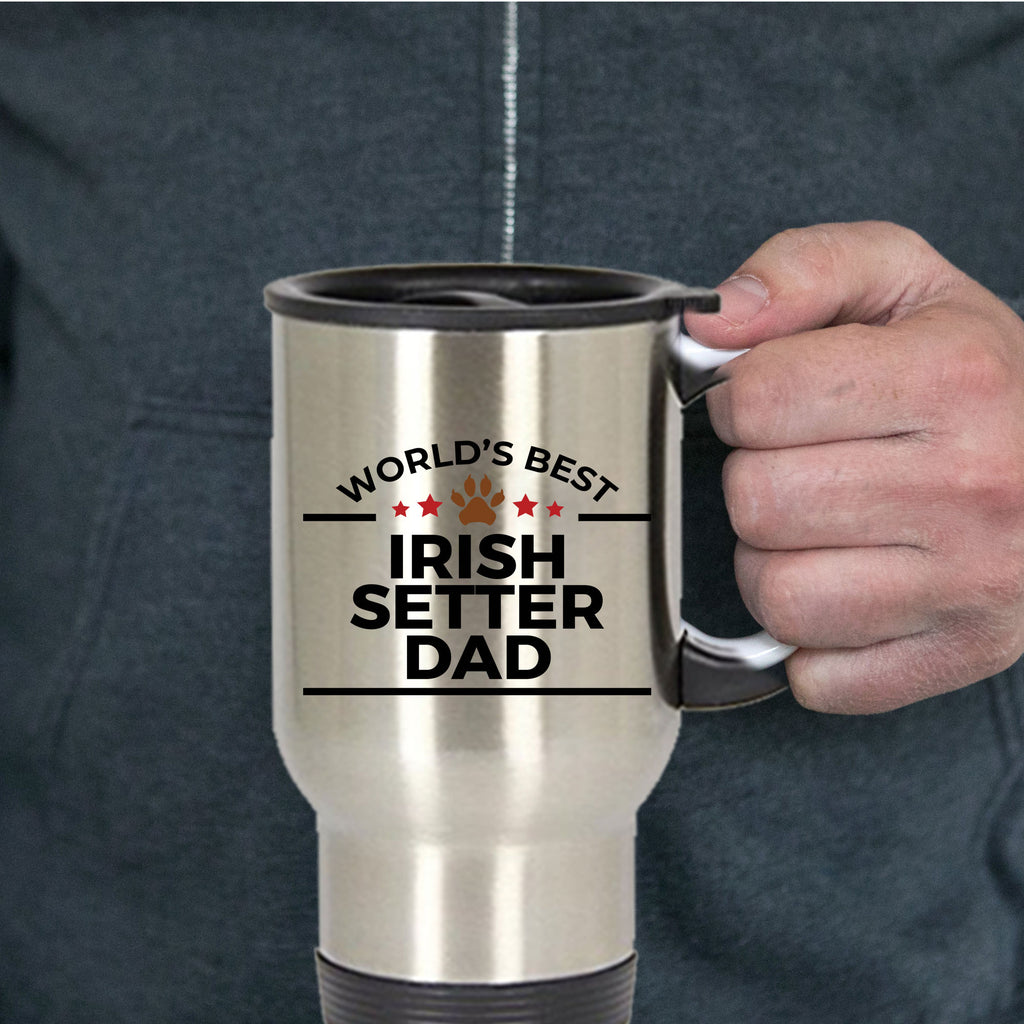 Irish Setter Dog Lover Gift World's Best Dad Birthday Father's Day Stainless Steel Insulated Travel Coffee Mug