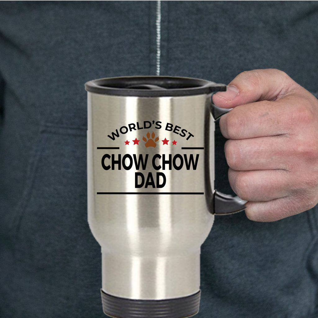 Chow Chow Dog Lover Gift World's Best Dad Birthday Father's Day Stainless Steel Insulated Travel Coffee Mug