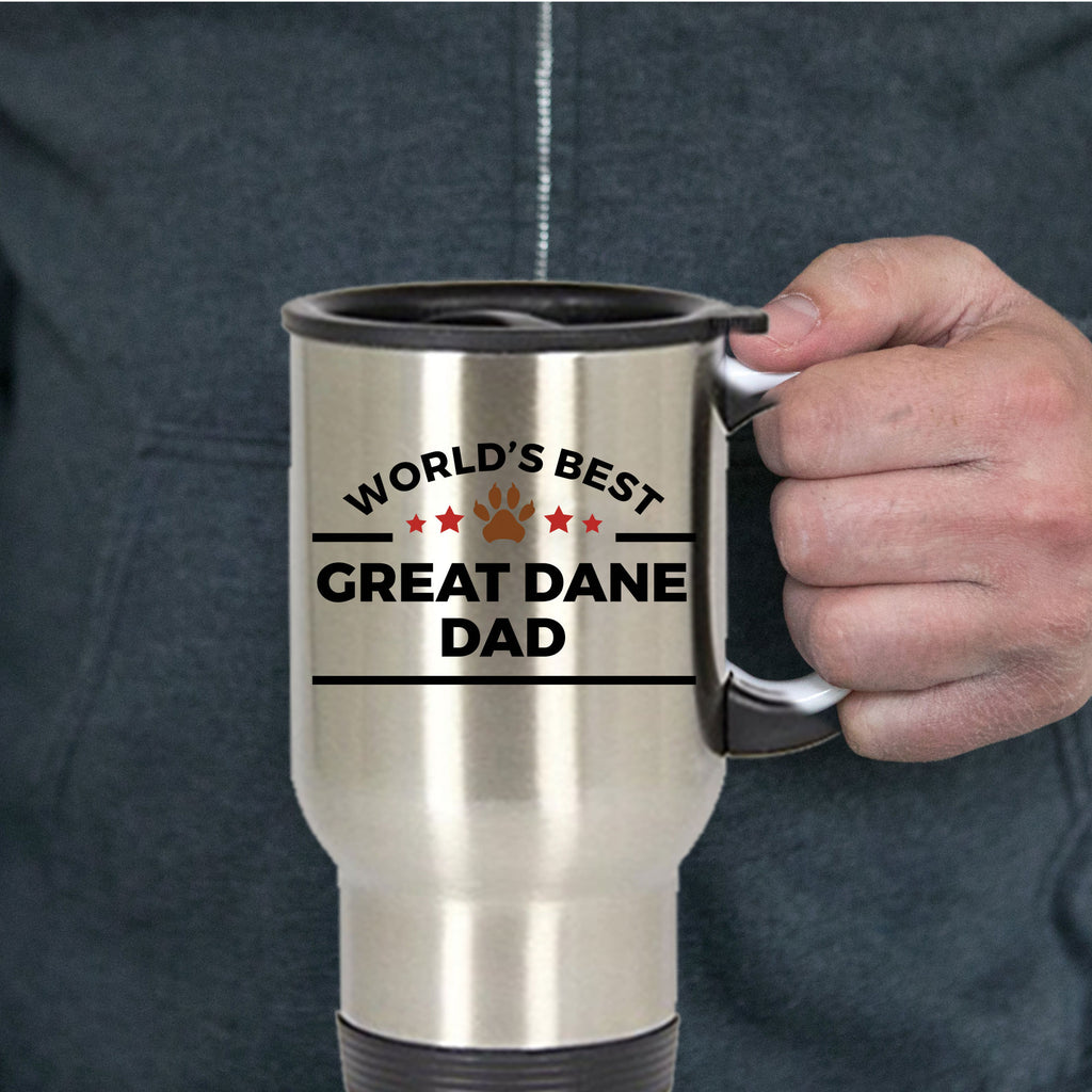 Great Dane Dog Lover Gift World's Best Dad Birthday Father's Day Stainless Steel Insulated Travel Coffee Mug