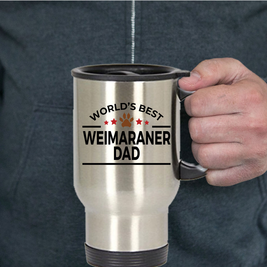 Weimaraner Dog Lover Gift World's Best Dad Birthday Father's Day Stainless Steel Insulated Travel Coffee Mug