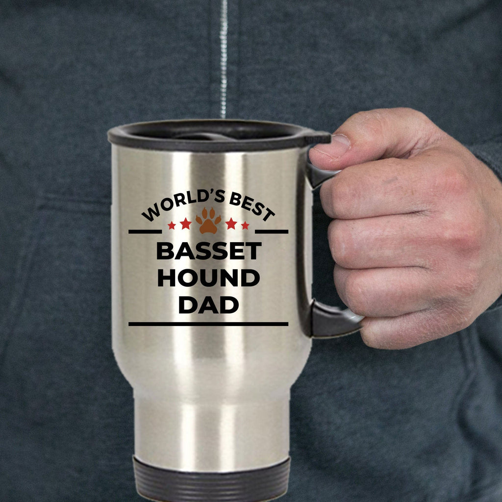 Basset Hound Dog Lover Gift World's Best Dad Birthday Father's Day Stainless Steel Insulated Travel Coffee Mug