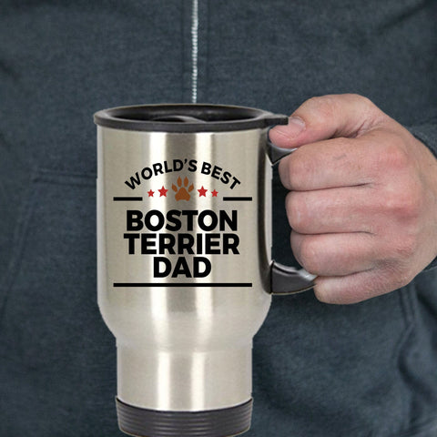 Boston Terrier Dog Lover Gift World's Best Dad Birthday Father's Day Stainless Steel Insulated Travel Coffee Mug
