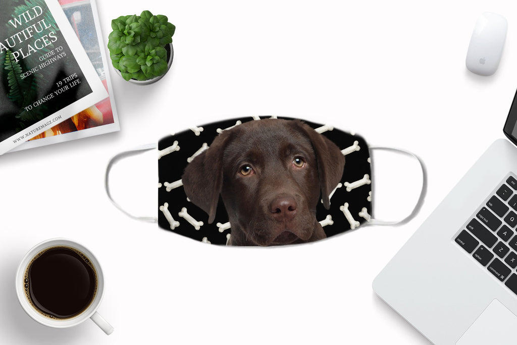 Chocolate Labrador Puppy Face Mask
