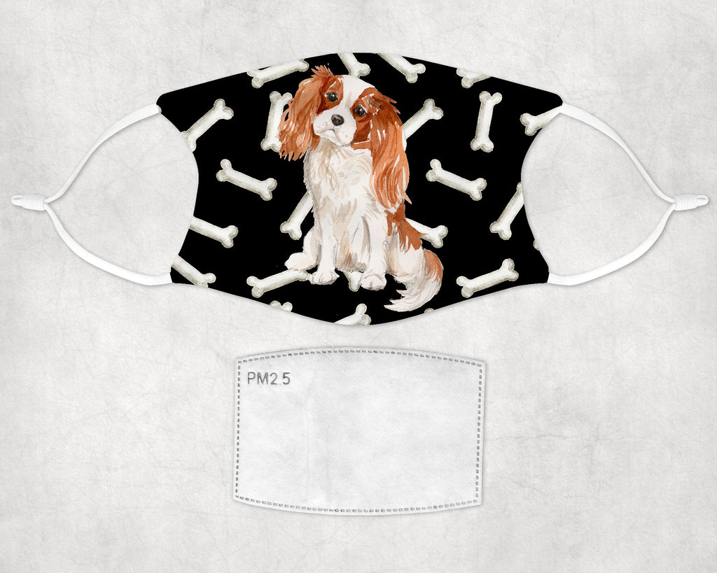 Cavalier King Charles Spaniel Watercolor Printed Fabric Face Cover Art