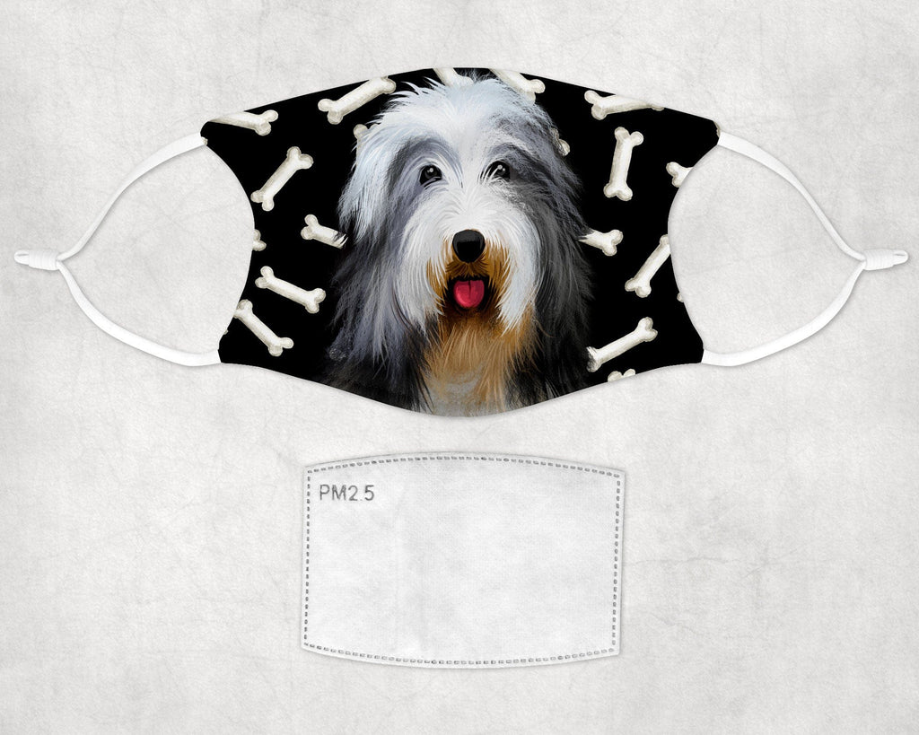 Bearded Collie Face Mask Child and Adult sizes made in USA