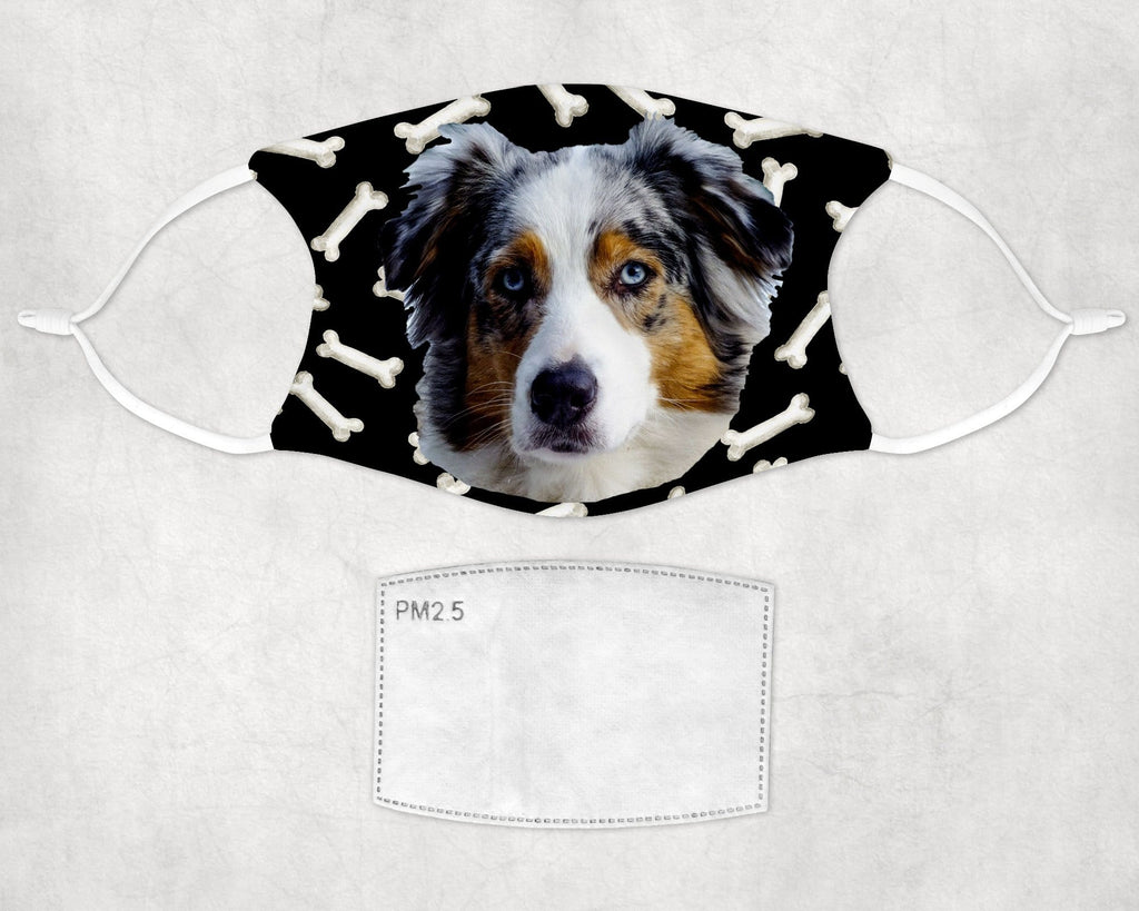 Australian Shepherd Child and Adult Face Mask washable reusable  - Made in USA