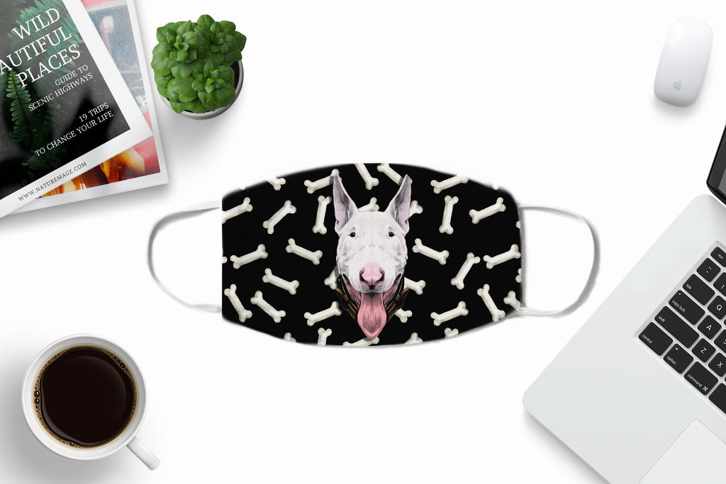 Bull Terrier Dog non-medical Face Mask Washable Reusable Sublimation Printed Fabric Cover Art