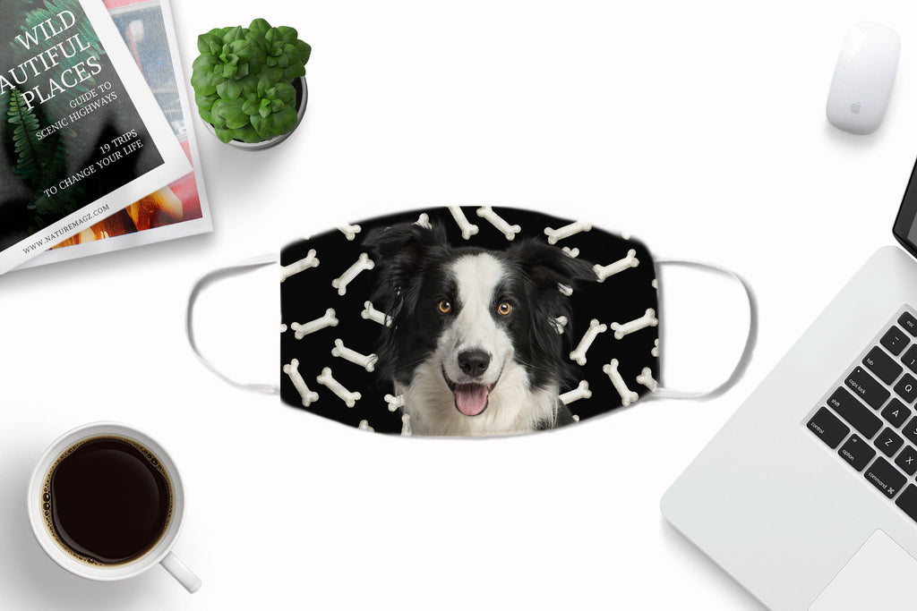 Border Collie -black - Face Mask Washable Reusable Sublimation Printed Fabric Made in USA