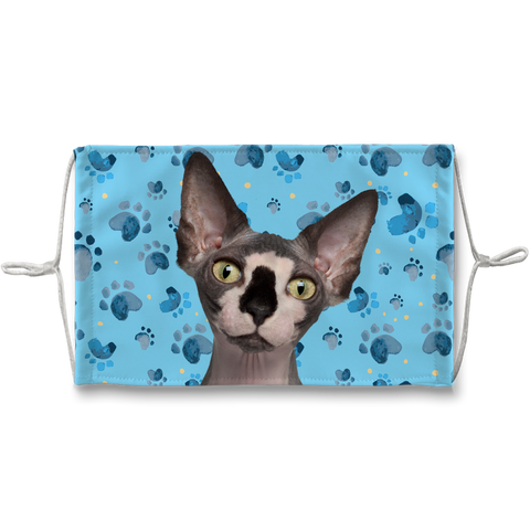 Sphynx Cat Blue Paw Print Sublimation Face Mask