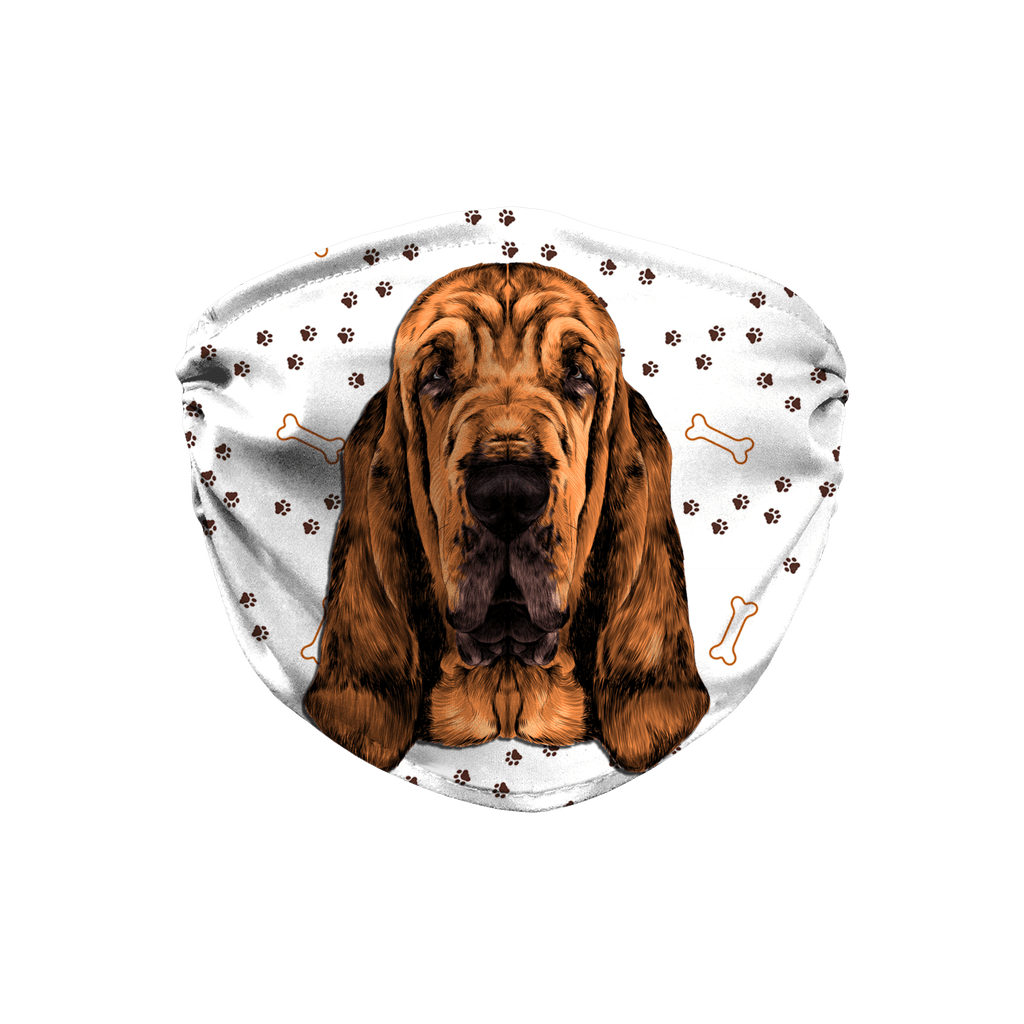 Bloodhound watercolor printed Paw Print Sublimation Face Mask
