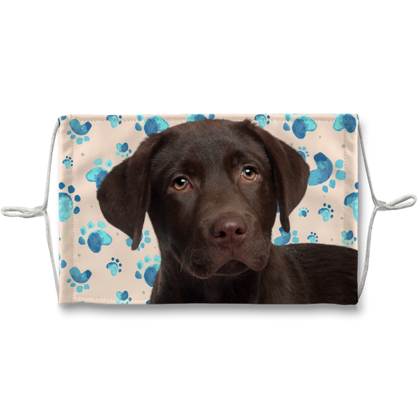 Chocolate Labrador Puppy Tan Paw Print Sublimation Face Mask