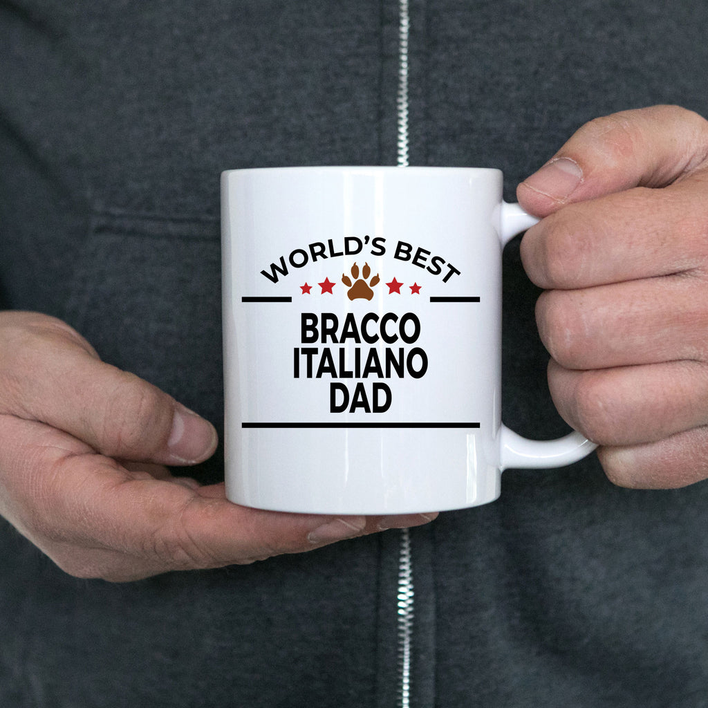 Bracco Italiano Dog Lover Gift World's Best Dad Birthday Father's Day White Ceramic Coffee Mug