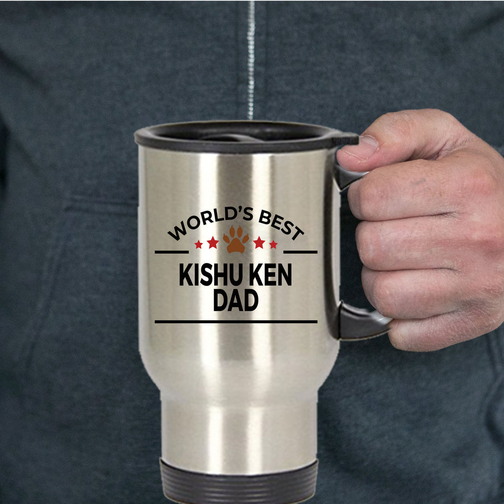 Kishu Ken Dog Lover Gift World's Best Dad Birthday Father's Day Stainless Steel Insulated Travel Coffee Mug