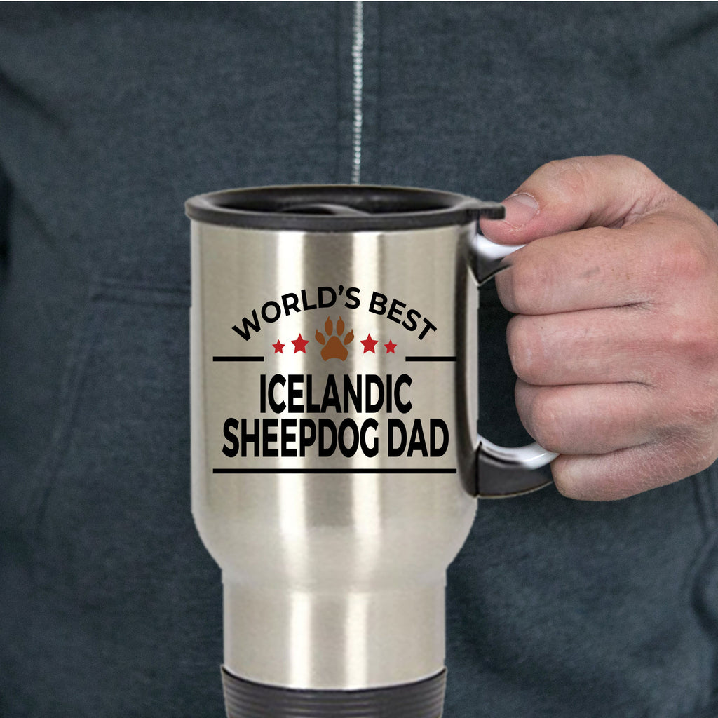 Icelandic Sheepdog Lover Gift World's Best Dad Birthday Father's Day Stainless Steel Insulated Travel Coffee Mug
