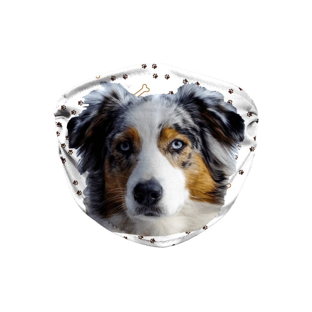 Australian Shepherd Dog Paw Print Sublimation Face Mask