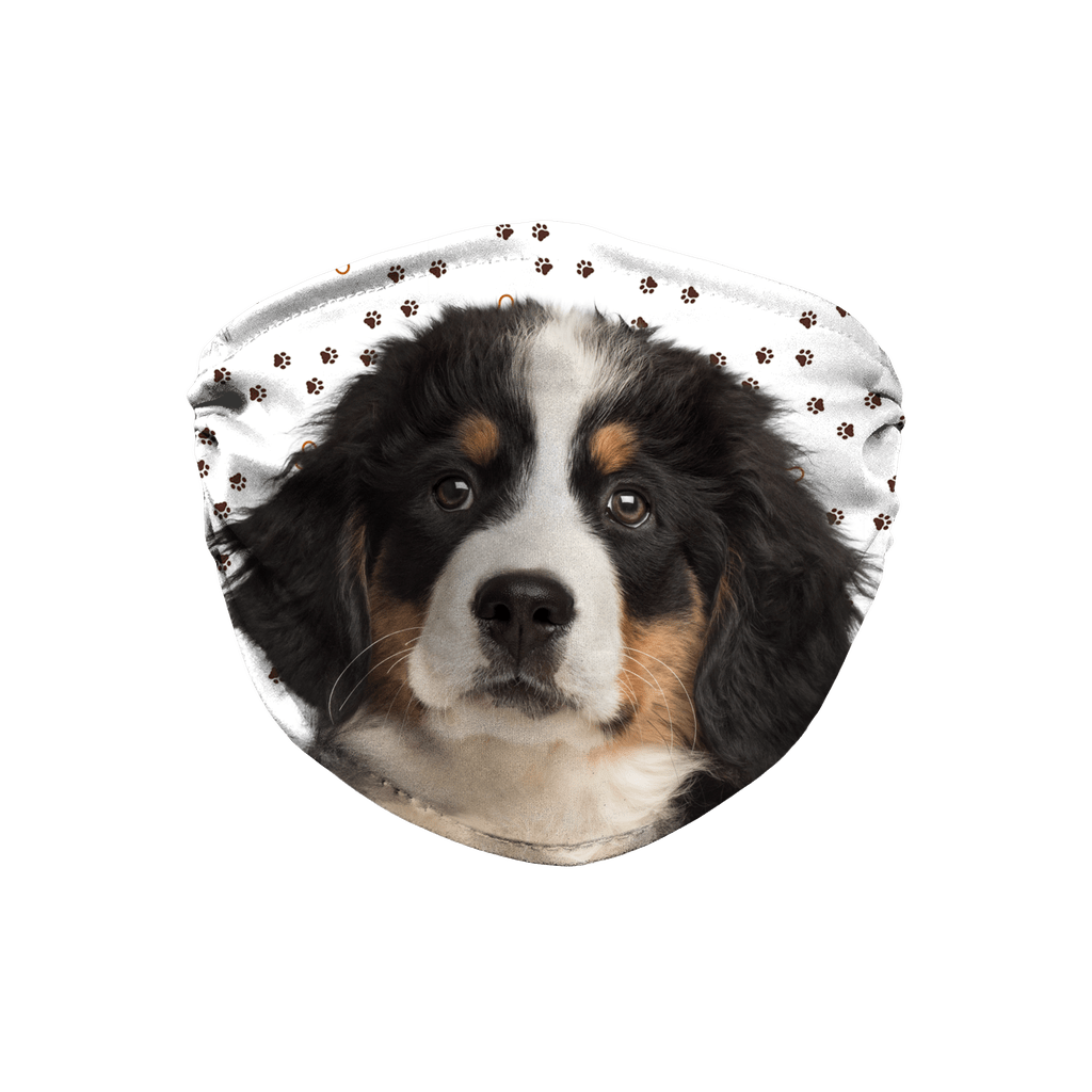 Bernese Mountain Dog Puppy Paw Print Sublimation Face Mask