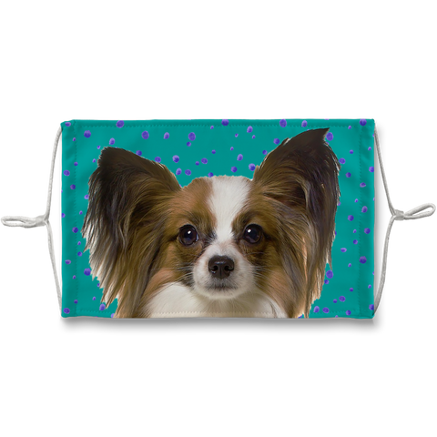 Papillon Puppy Teal Sublimation Face Mask
