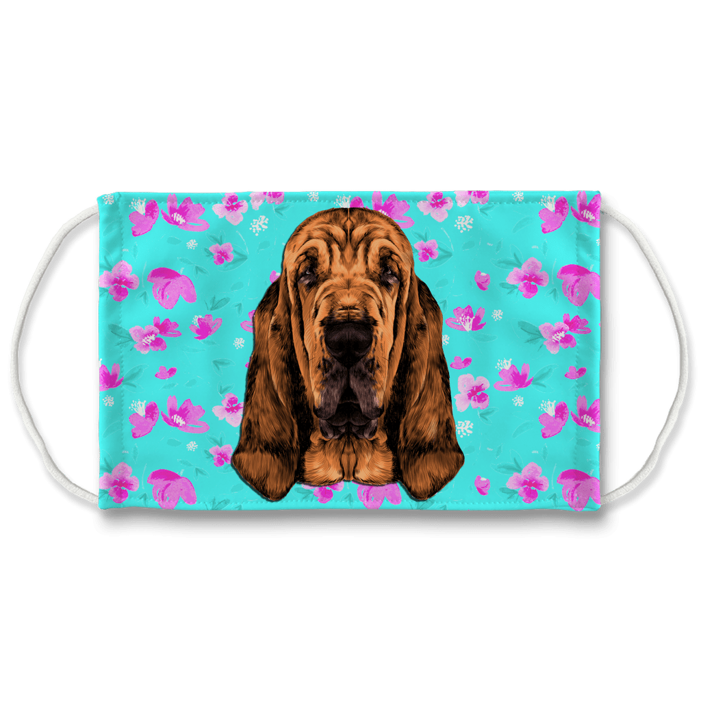 Bloodhound Dog watercolor - Mint Floral Sublimation Face Mask