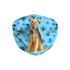 Welsh Terrier on Blue Paw Print Sublimation Face Mask
