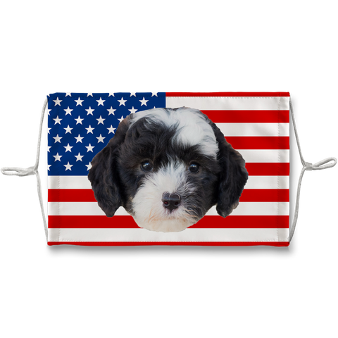 Sheepadoodle Puppy American Flag Sublimation Face Mask Printed in London