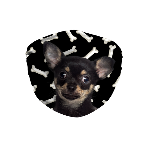 Chihuahua black and tan puppy dark bones Sublimation Face Mask