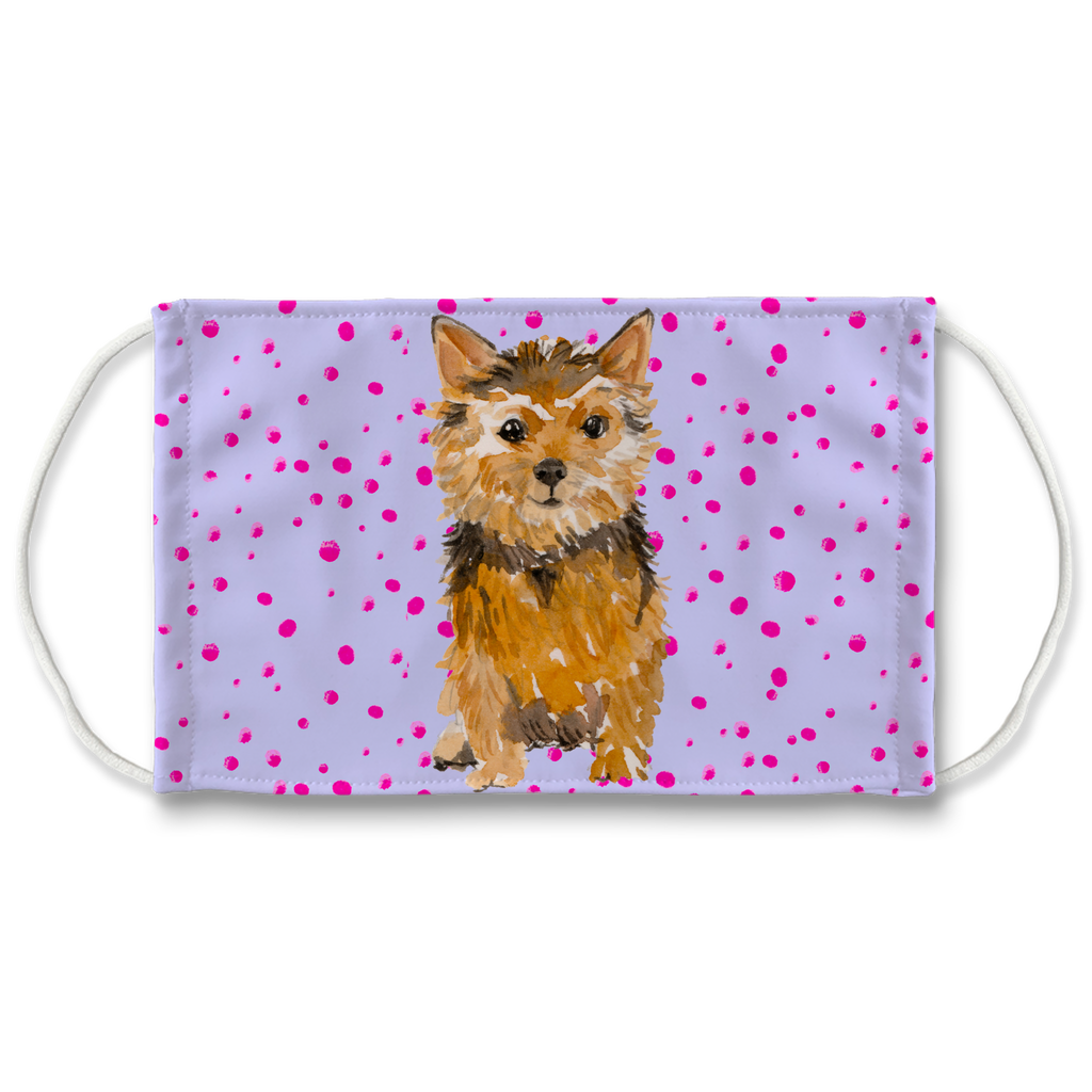 Norfolk Terrier Dog on Purple Sublimation Face Mask
