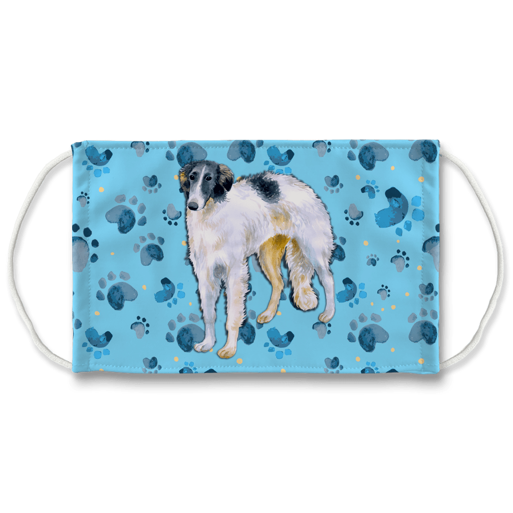 Borzoi Dog Blue Paw Print Sublimation Face Mask