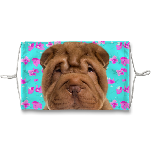 Shar Pei Puppy Mint Floral Sublimation Face Mask