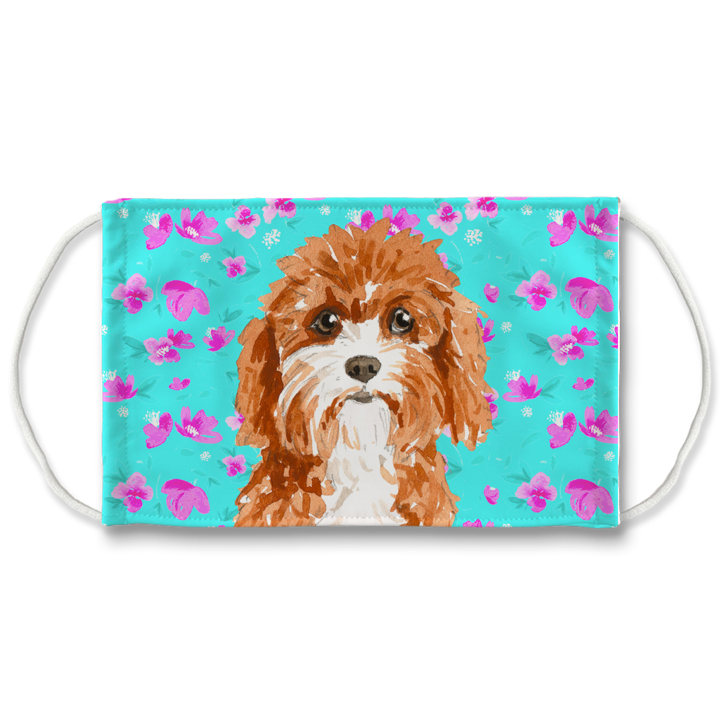 Cavapoo Dog Mint Floral Sublimation Face Mask