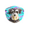 Miniature Schnauzer Watercolor - Mint Floral Sublimation Face Mask