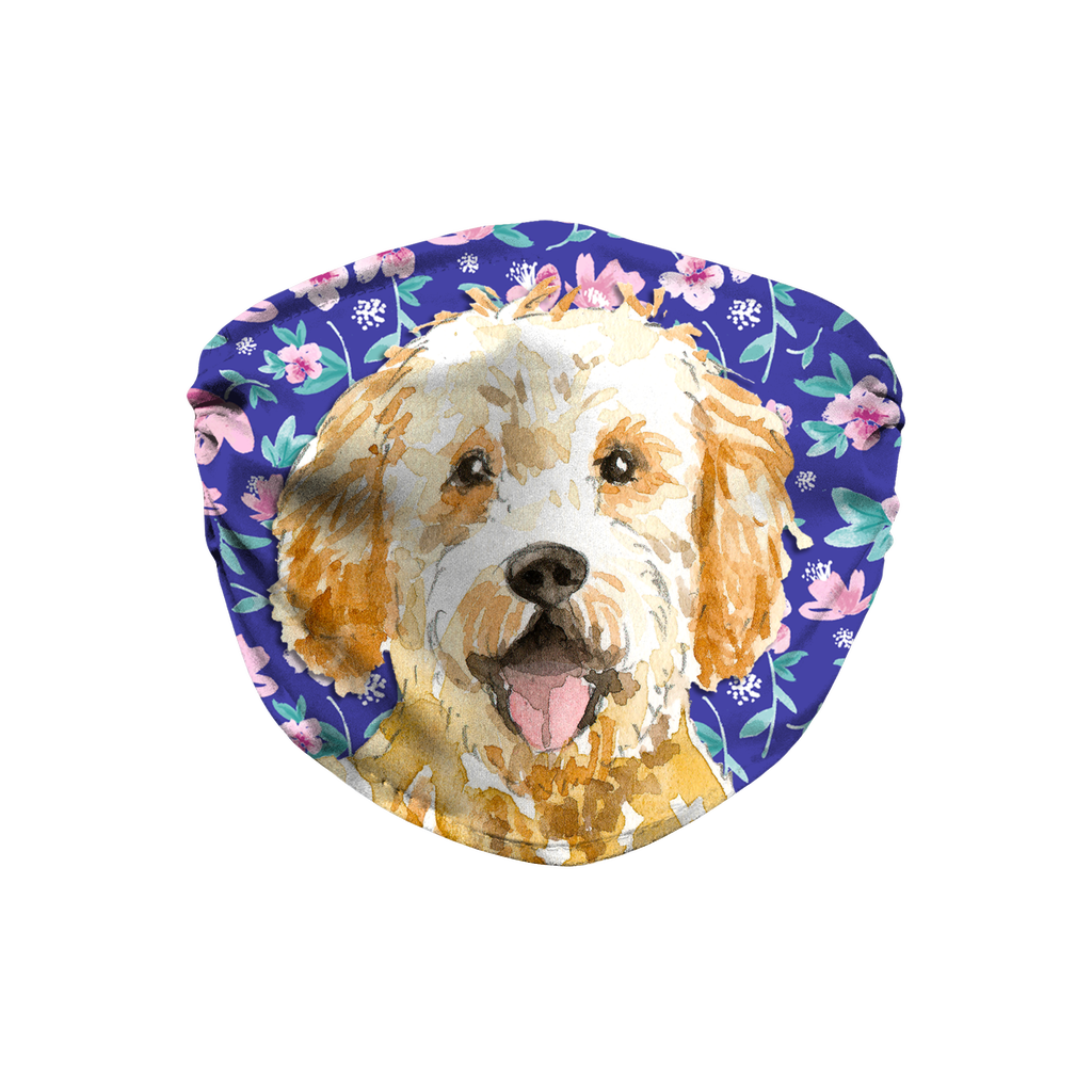 Goldendoodle Dog Blue Floral Sublimation Face Mask