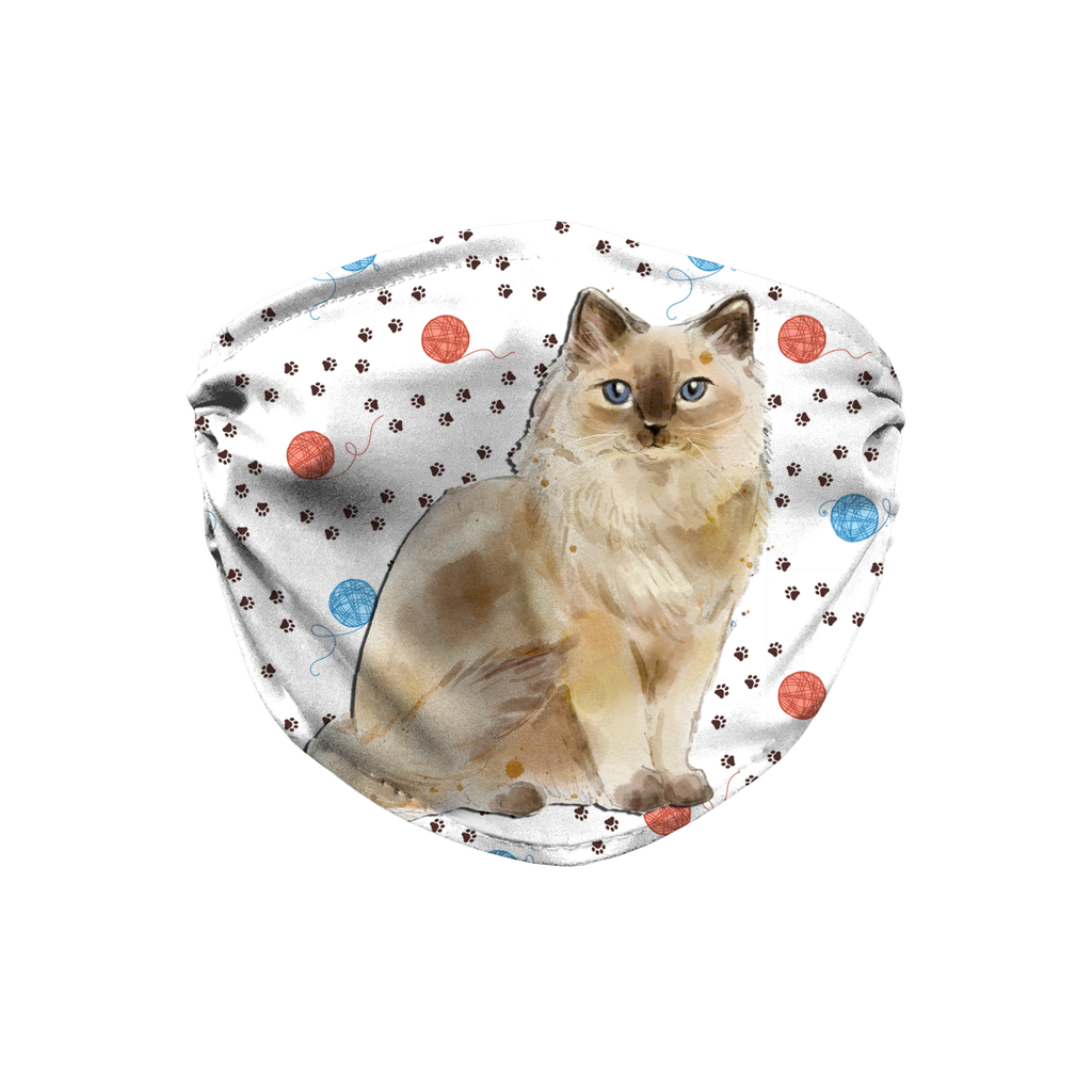 Ragdoll Cat Ragdoll Cat on Yarn Balls Sublimation Face Mask