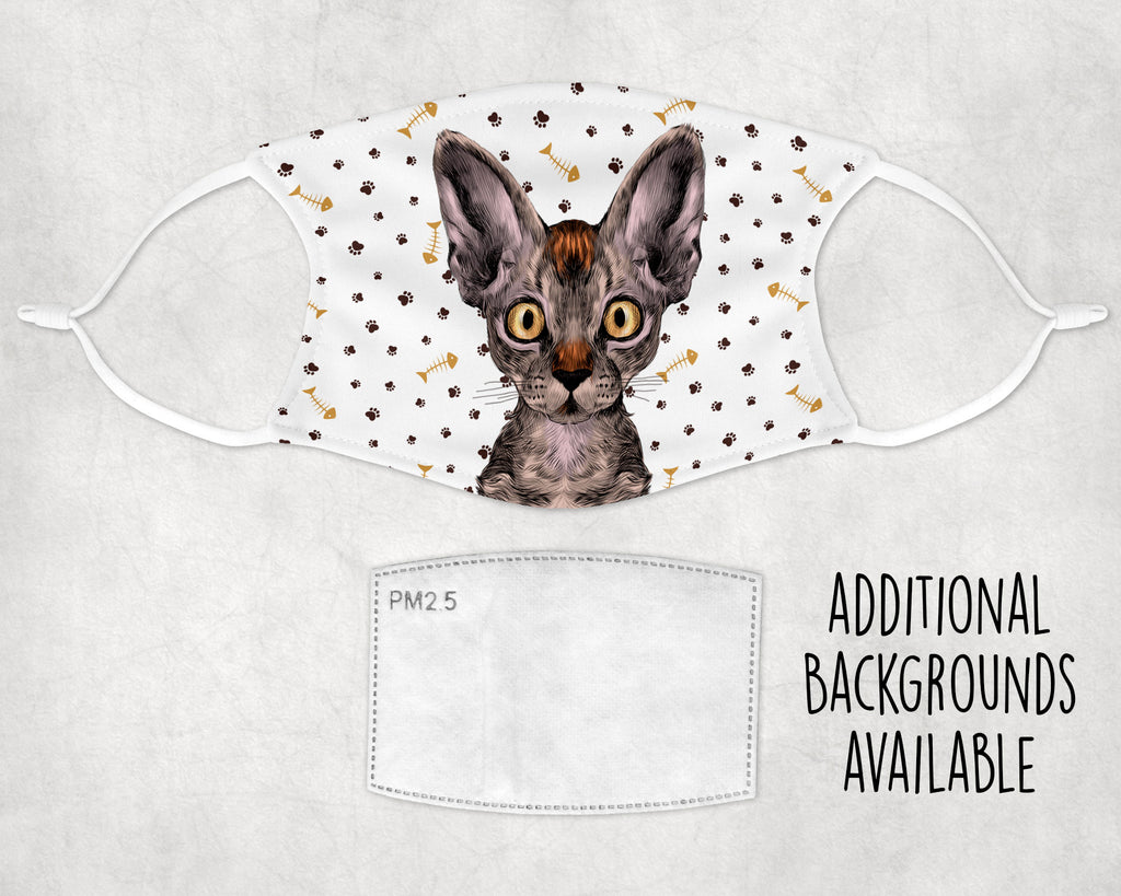 Devon Rex Cat Face Mask Washable Reusable Elastic Ear Loop Made in USA