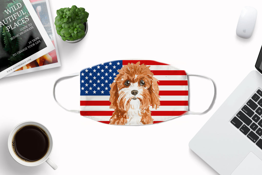 Cavapoo Dog Cover - Washable Reusable Sublimation Printed Fabric Face Cover Art