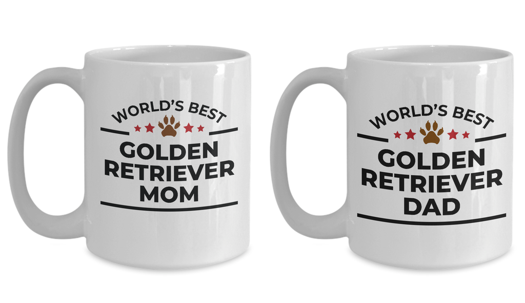World's Best Golden Retriever Mom and Dad White Ceramic Mugs - Set of 2 His and Hers