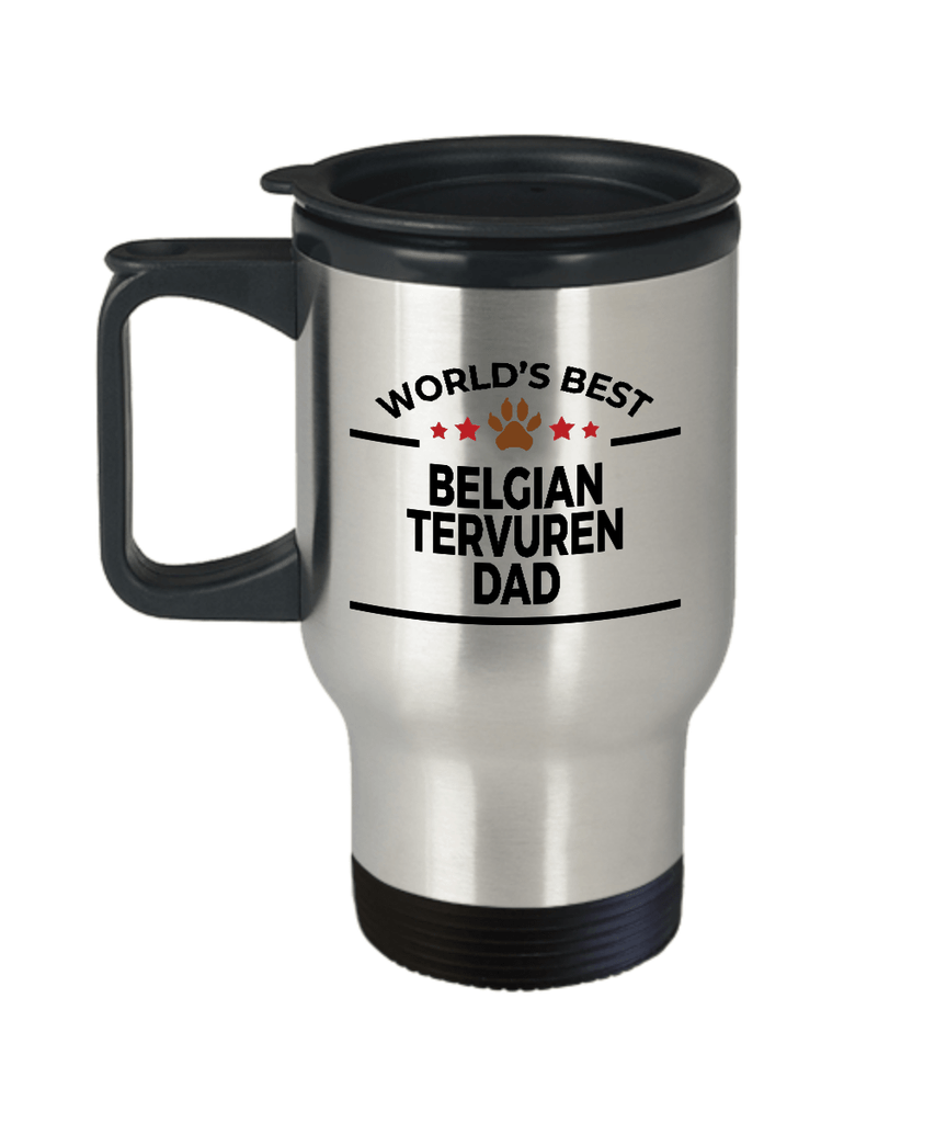 Belgian Tervuren Dog Lover Gift World's Best Dad Birthday Father's Day Stainless Steel Insulated Travel Coffee Mug