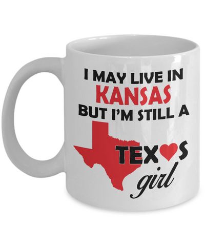 Texas Girl Living in Kansas Coffee Mug